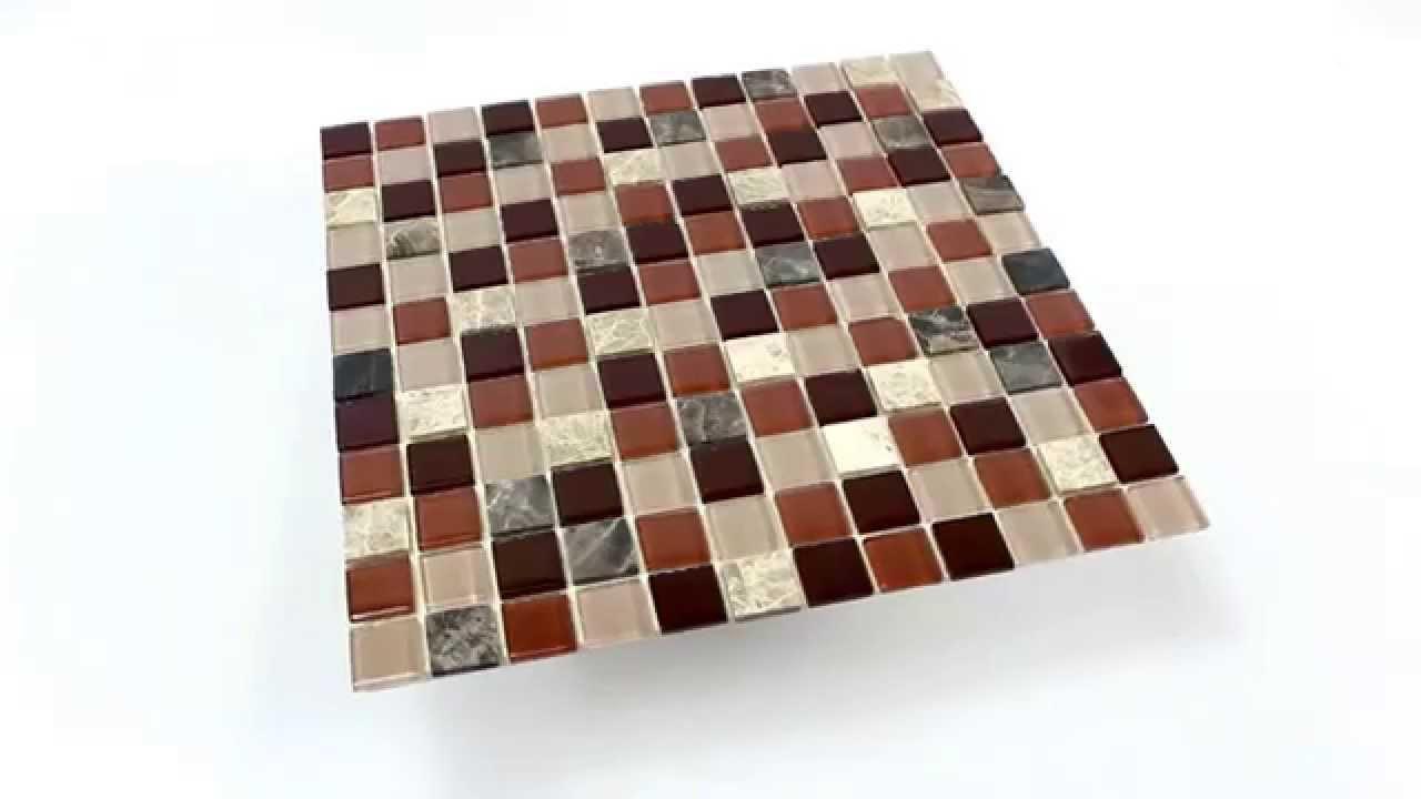 Selbstklebende Fliesen  Selbstklebende Mosaik Naturstein Glas Fliesen Beige Braun