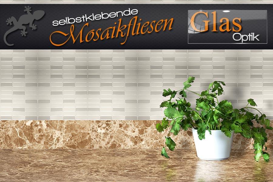 Selbstklebende Fliesen  Mosaik Fliesen selbstklebend in dreidimensionaler Glas