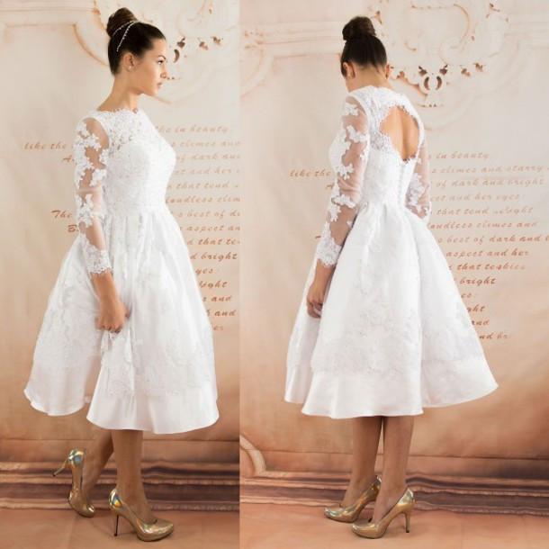 Sexy Hochzeitskleid  dress hochzeitskleid kurzer eleganter langer armel