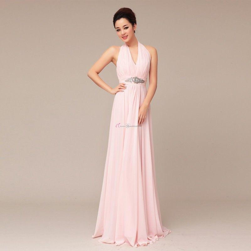 Sexy Hochzeitskleid  y Ausschnitt Lang Rosa Chiffon Brautjungfernkleid