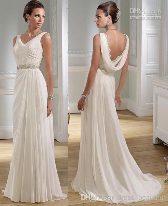 Sexy Hochzeitskleid  y V neck Greek A line Chiffon Summer Wedding Dresses