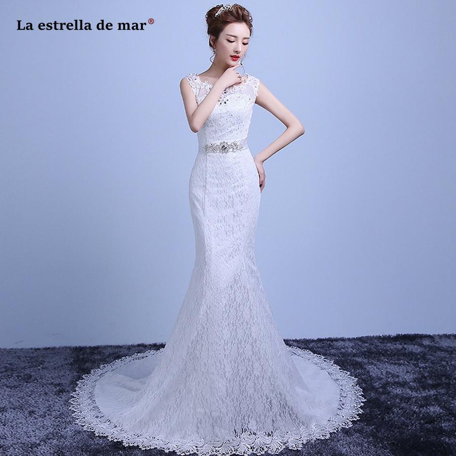 Sexy Hochzeitskleid  hochzeitskleid 2019 hot Scoop neck lace back white