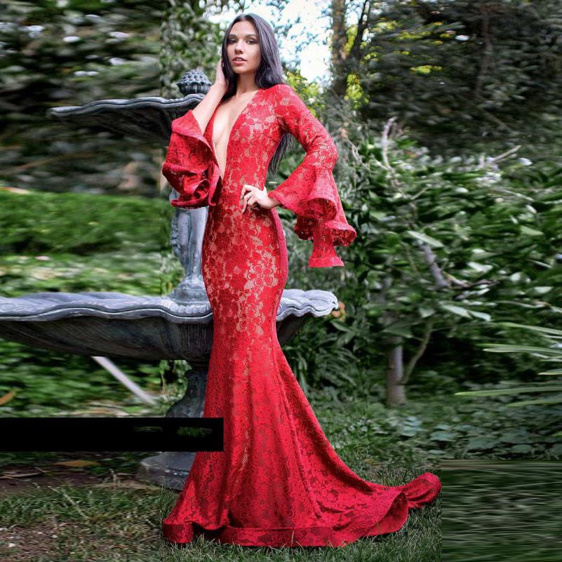 Sexy Hochzeitskleid  2018 Robe de mariee Dresses Lace Long Sleeves Elegant Prom