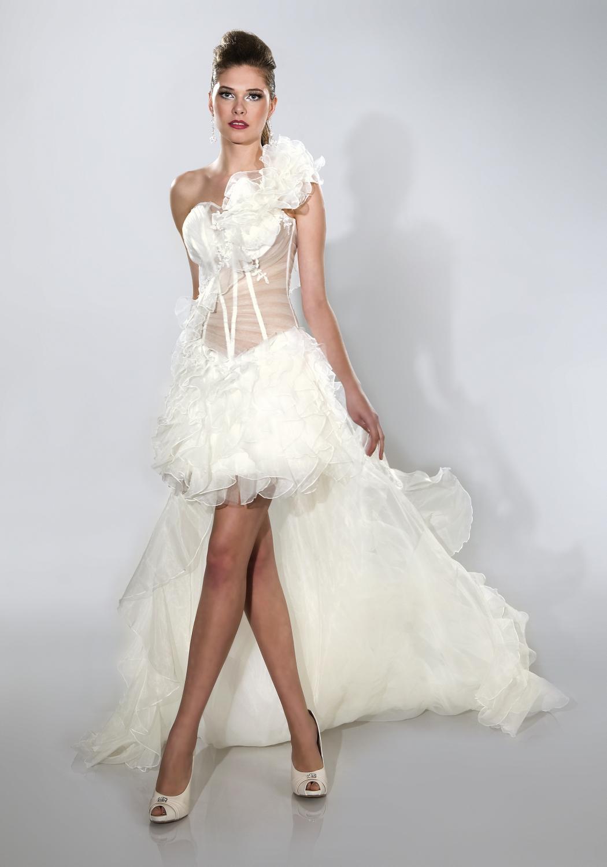 Sexy Hochzeitskleid  y Brautkleid kurz mit langer Schleppe Extravagant und
