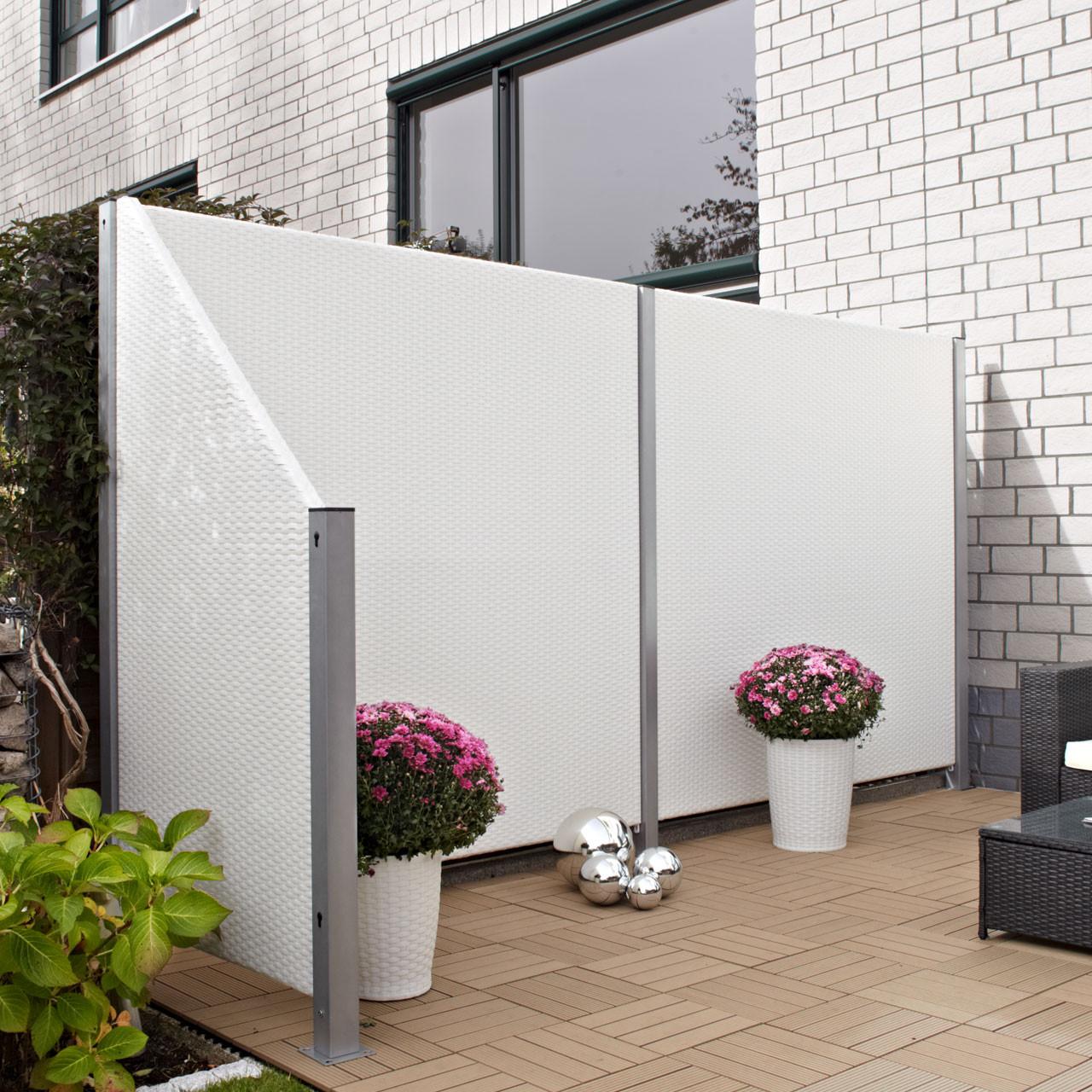 Sichtschutz Terrasse Kunststoff  Sichtschutzwand Kunststoff Geflecht weiß