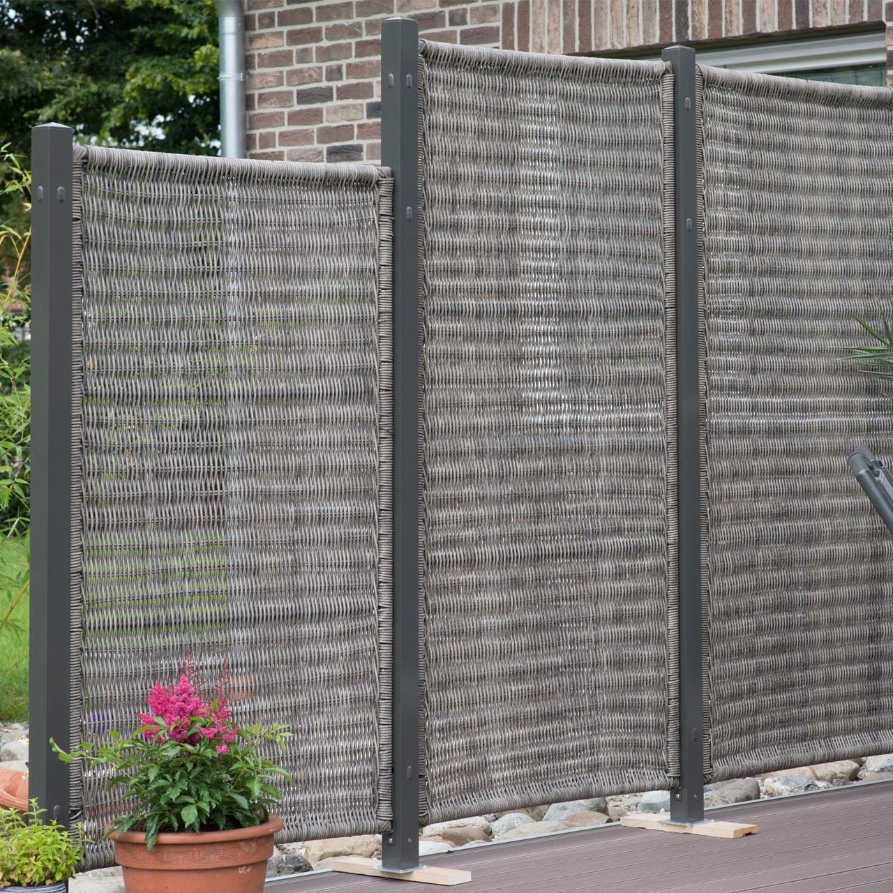 Sichtschutz Terrasse Kunststoff  Sichtschutzwand Polyrattan Geflecht Öland vertikal grau