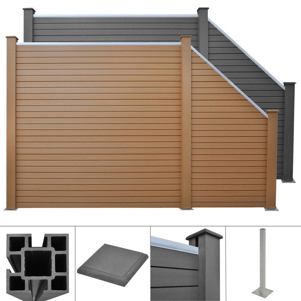 Sichtschutz Terrasse Kunststoff  WPC Alu Sichtschutz Zaun Gartenzaun Windschutz Terrasse