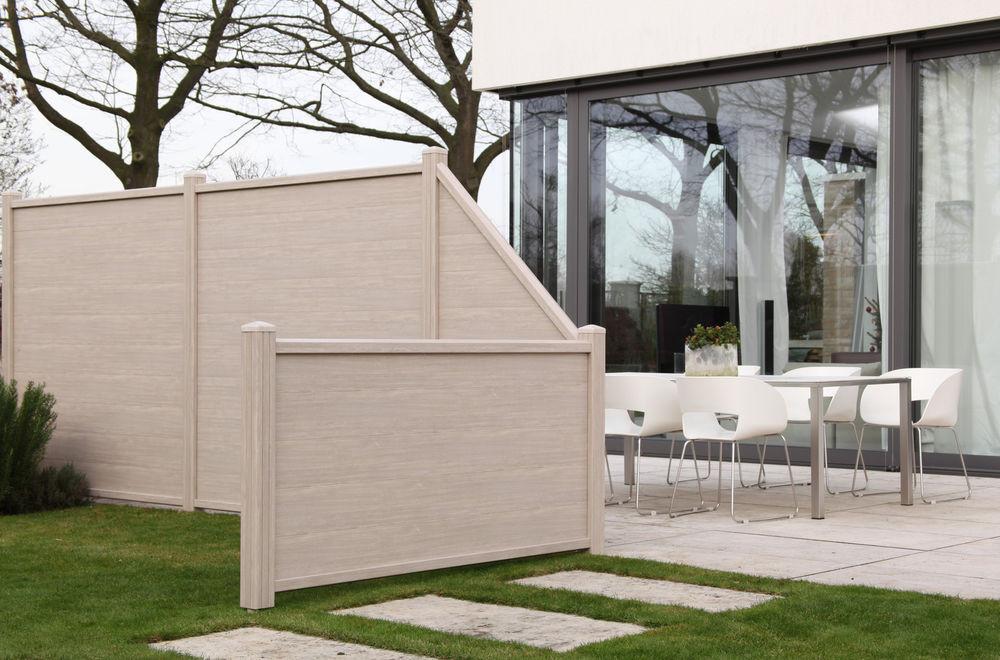 Sichtschutz Terrasse Kunststoff  WPC Sichtschutz Zaun Windschutz Holz PVC Kunststoff