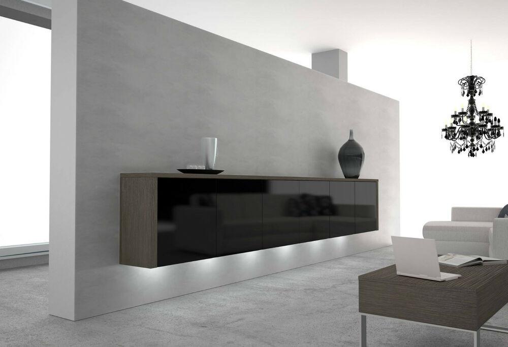 Sideboard Wohnzimmer  Modernes Sideboard schwebend in 13 Farben Hochglanz
