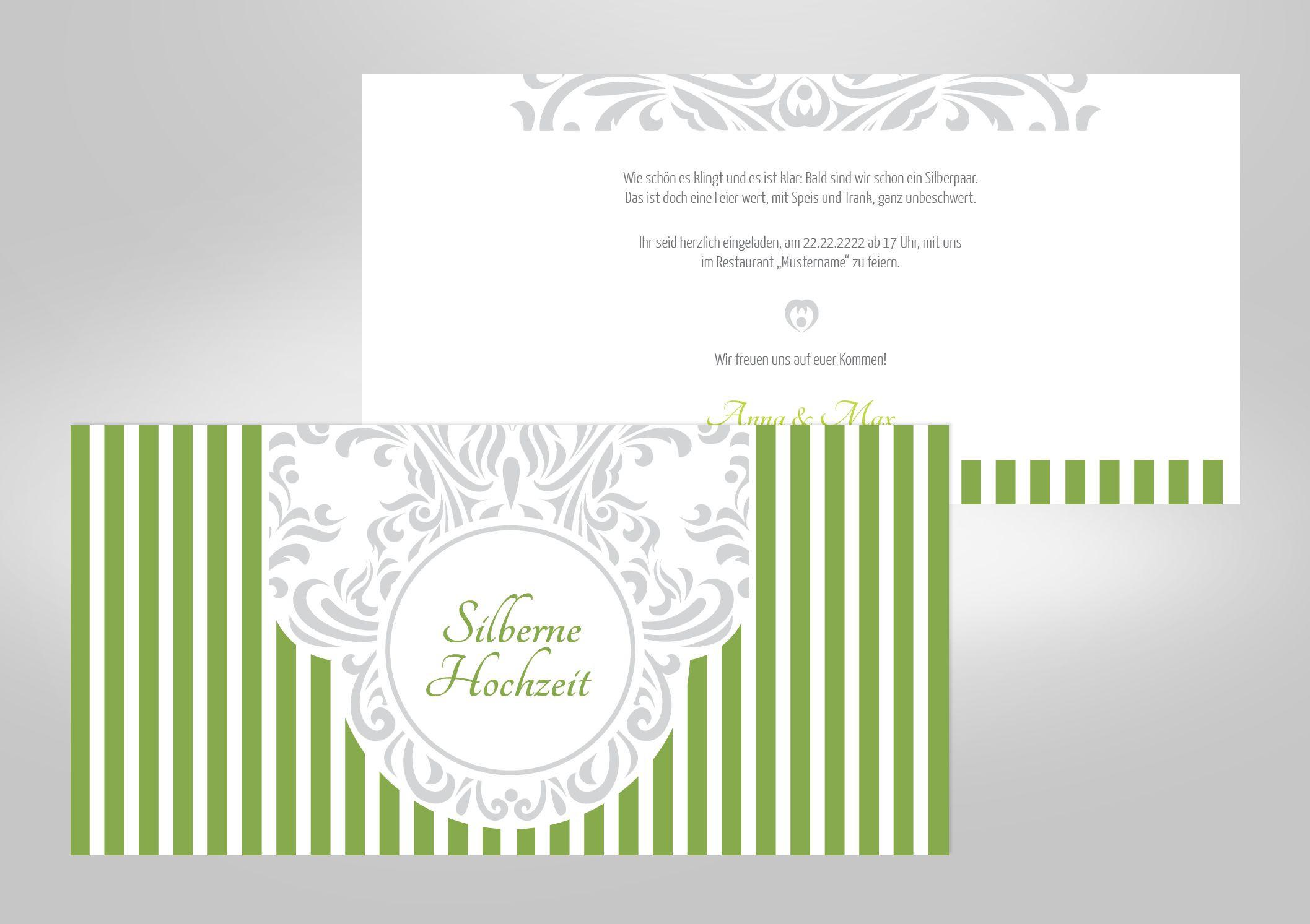 Silberne Hochzeit Sprüche  Silberhochzeit Einladungskarten