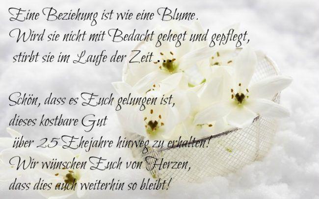 Silberne Hochzeit Sprüche  sprüche silberhochzeit glückwünsche kurz blumen 25 jahre