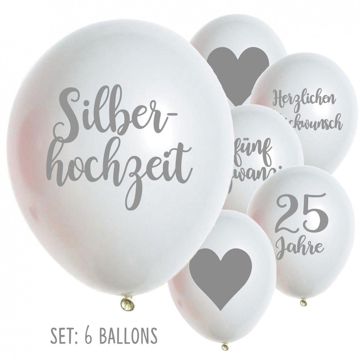Silberne Hochzeit Sprüche  Latexballon Silberhochzeit 25 Jahre