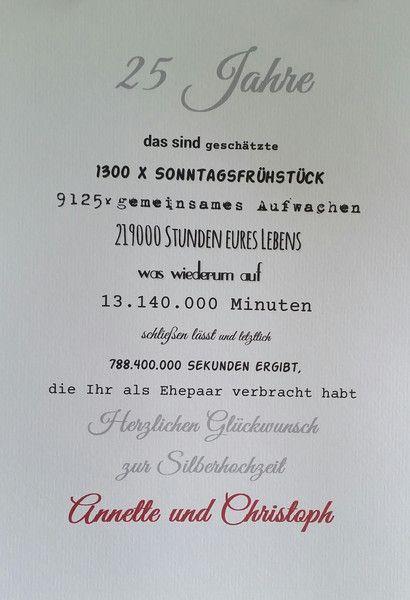 Silberne Hochzeit Sprüche  Geldgeschenke Druck Silberhochzeit ein Designerstück