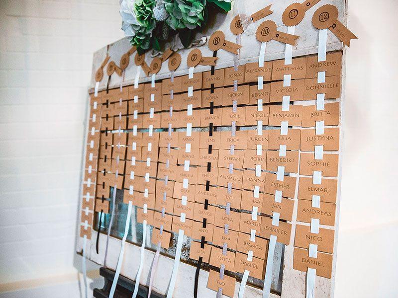 Sitzplan Hochzeit  Hochzeitsdeko im Vintage Stil • Ich Liebe Deko
