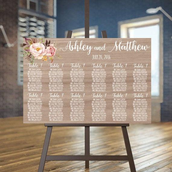 Sitzplan Hochzeit  Sitzplan druckbare Hochzeit Liste Holz Gäste bedruckbar