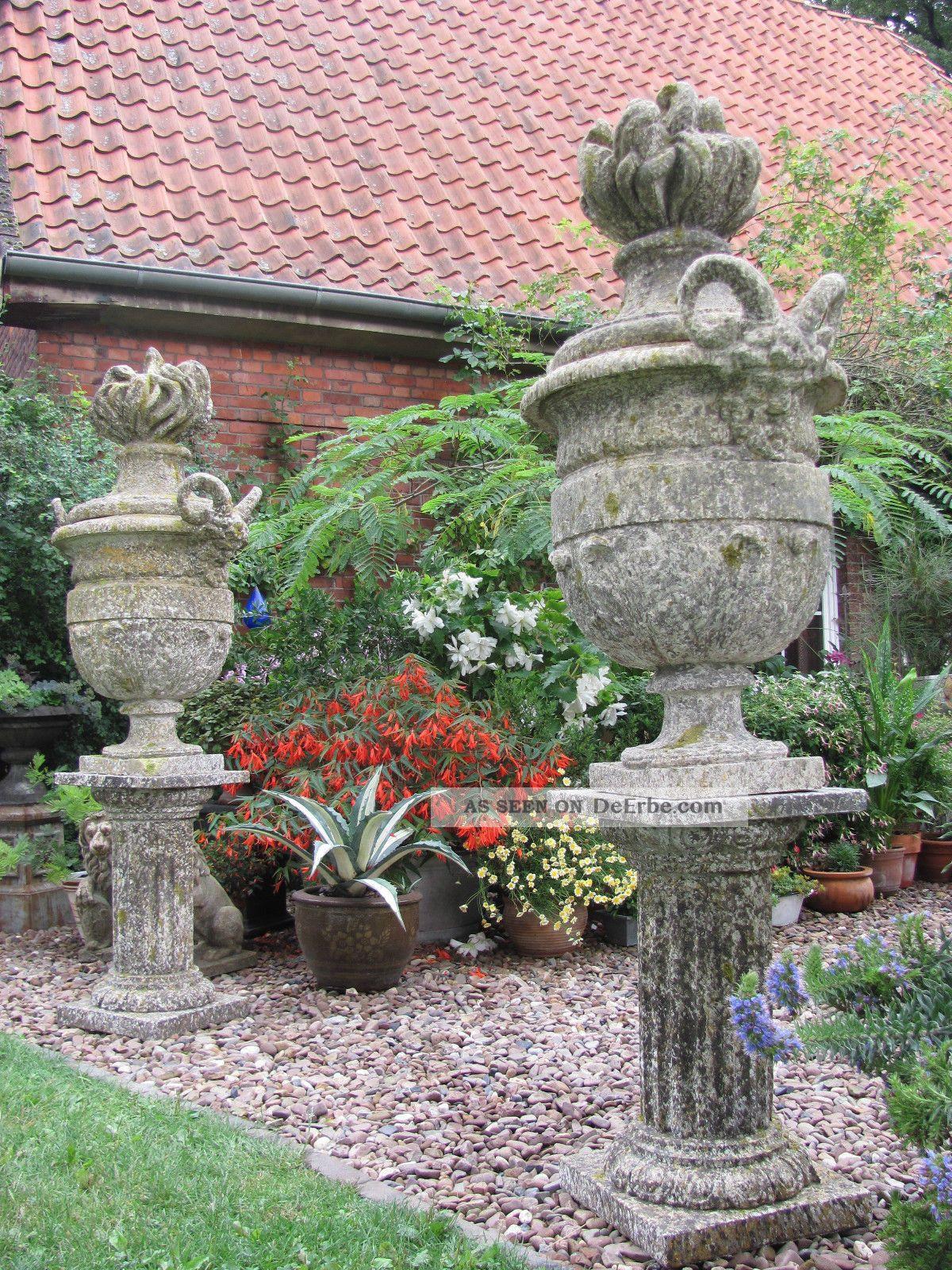 Skulptur Garten  Frankreich Große Park Vase Säule Widder Köpfe Deckel Vase