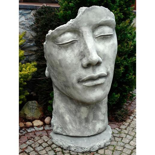 Skulptur Garten  Gartenfigur Statue Gesicht Mann inkl Platte zur Montage