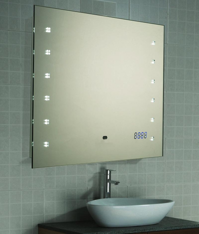 Spiegel Mit Beleuchtung  LED Spiegel Badspiegel Wandspiegel Uhr Sensor 45x60 oder