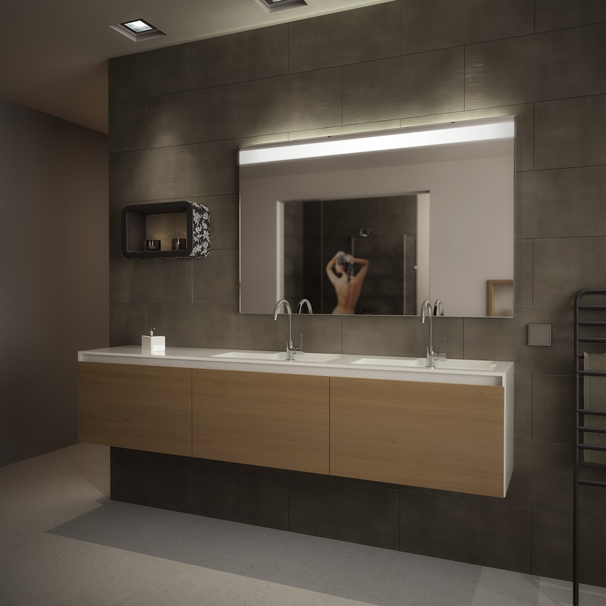 Spiegel Mit Beleuchtung  Wandspiegel mit Beleuchtung Zesah