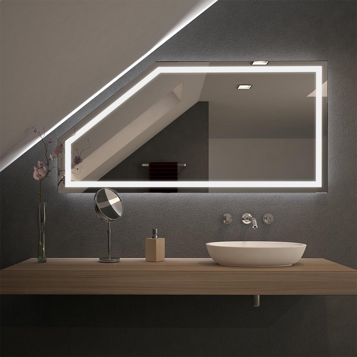 Spiegel Mit Beleuchtung  Spiegel für Dachschrägen mit LED Beleuchtung Fiola