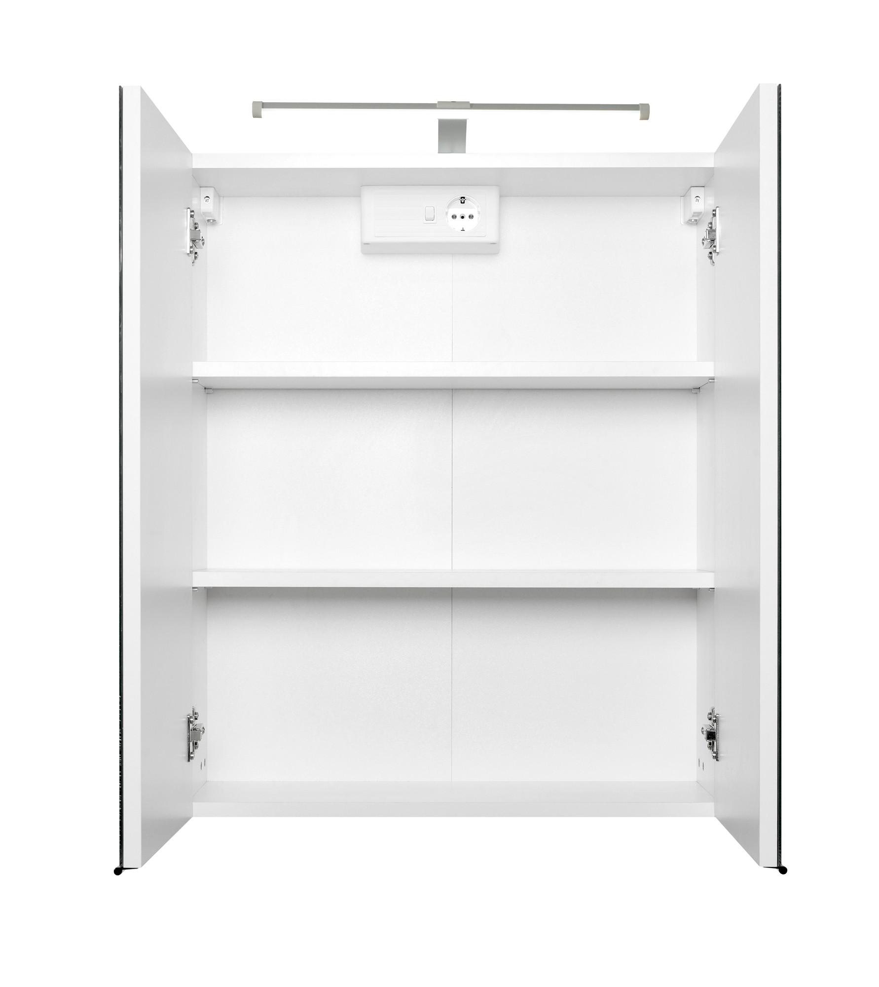 Spiegelschrank 60 Cm  Bad Spiegelschrank 2 türig 60 cm breit Weiß Bad