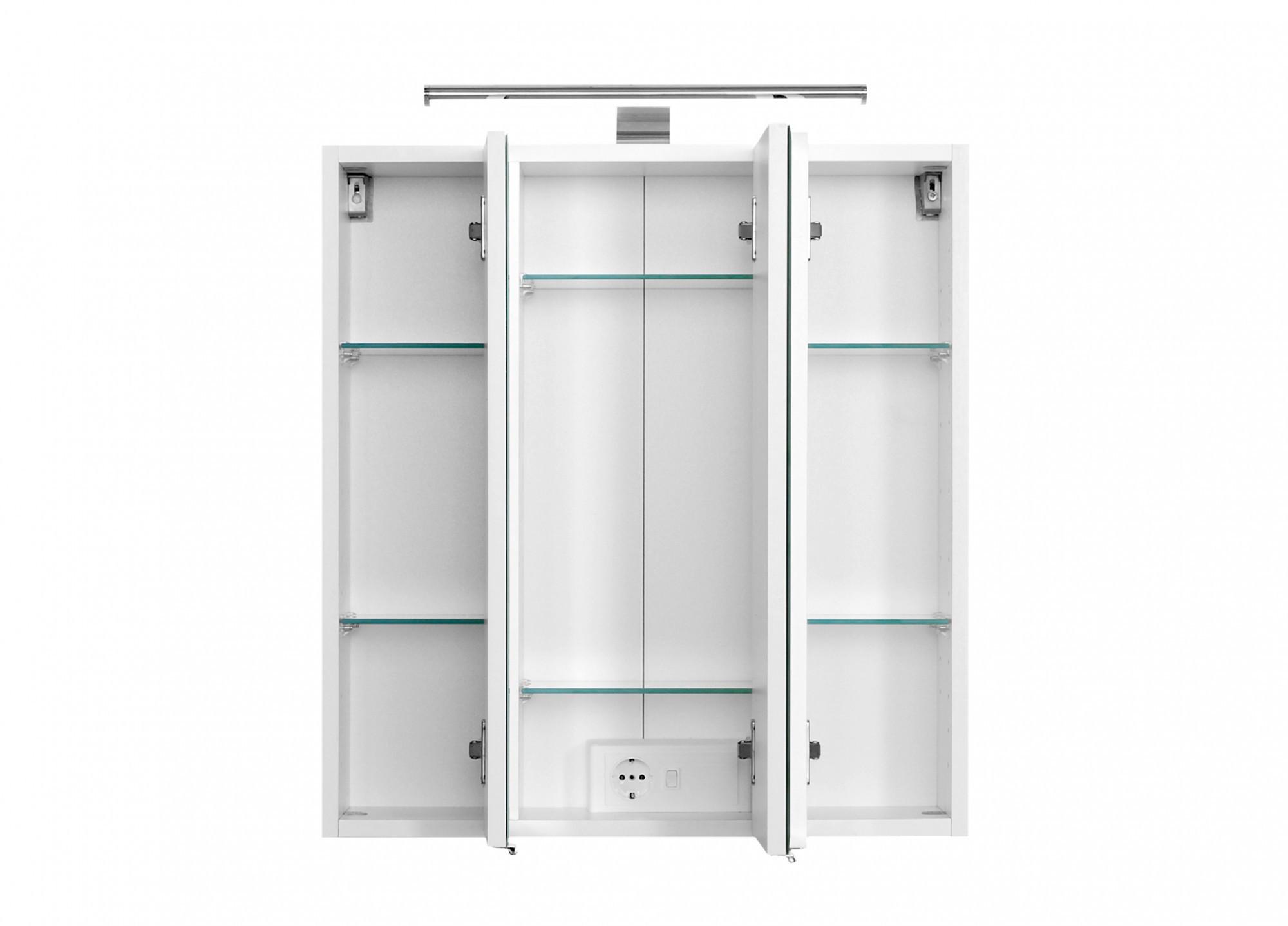Spiegelschrank 60 Cm  Bad Spiegelschrank 3 türig mit LED Aufbauleuchte 60