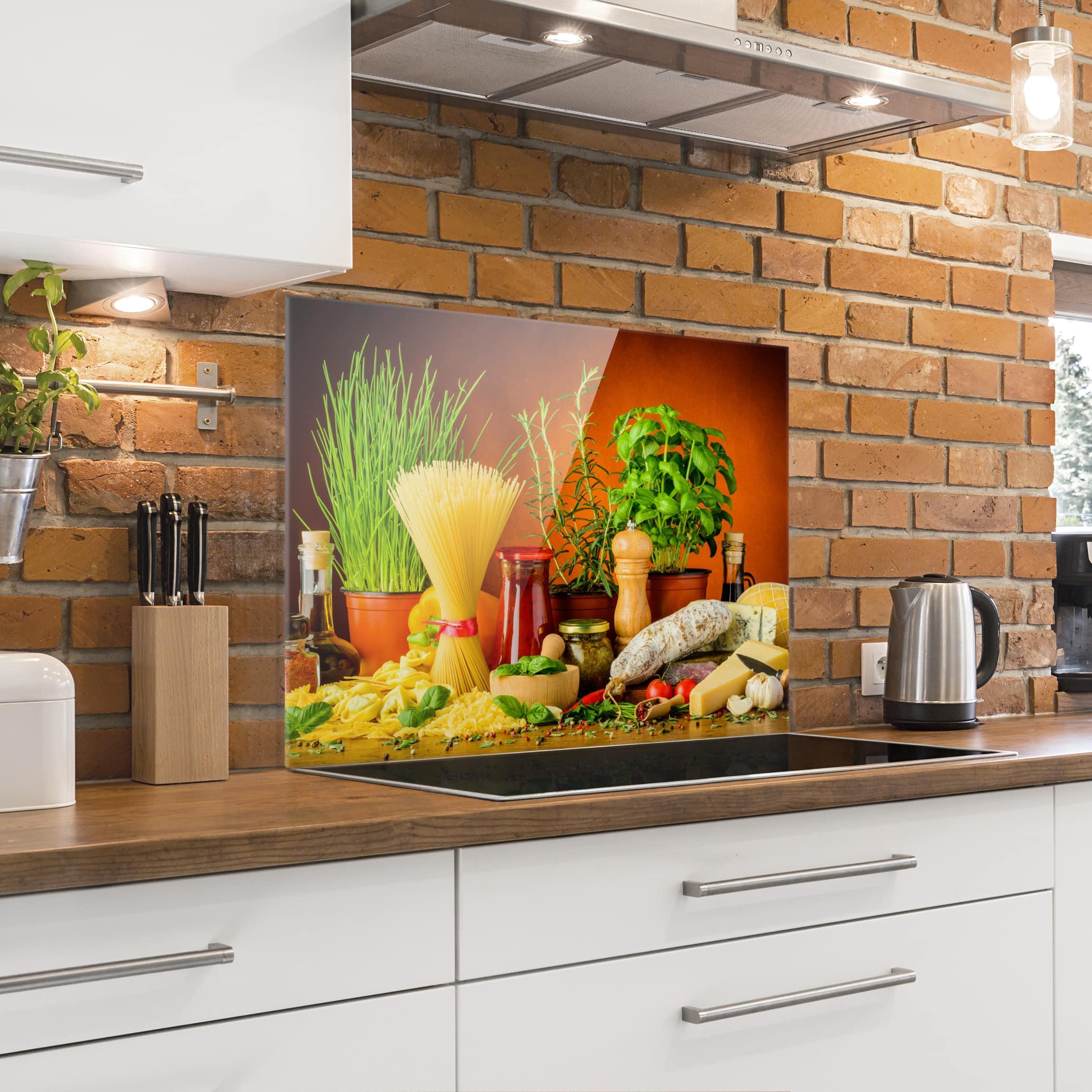 Spritzschutz Küche  Spritzschutz Glas Italienische Küche Querformat 3 4