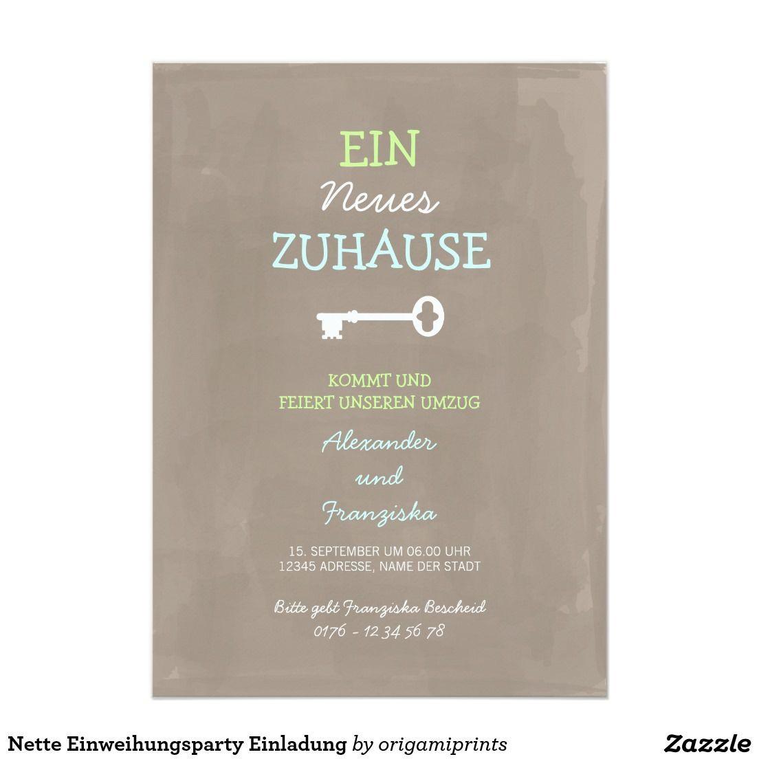 Spruch Einzug Haus  Nette Einweihungsparty Einladung Zazzle