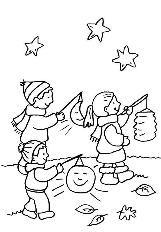 St. Martin Ausmalbilder  Ausmalbild Kindergarten Kinder beim Laternenumzug