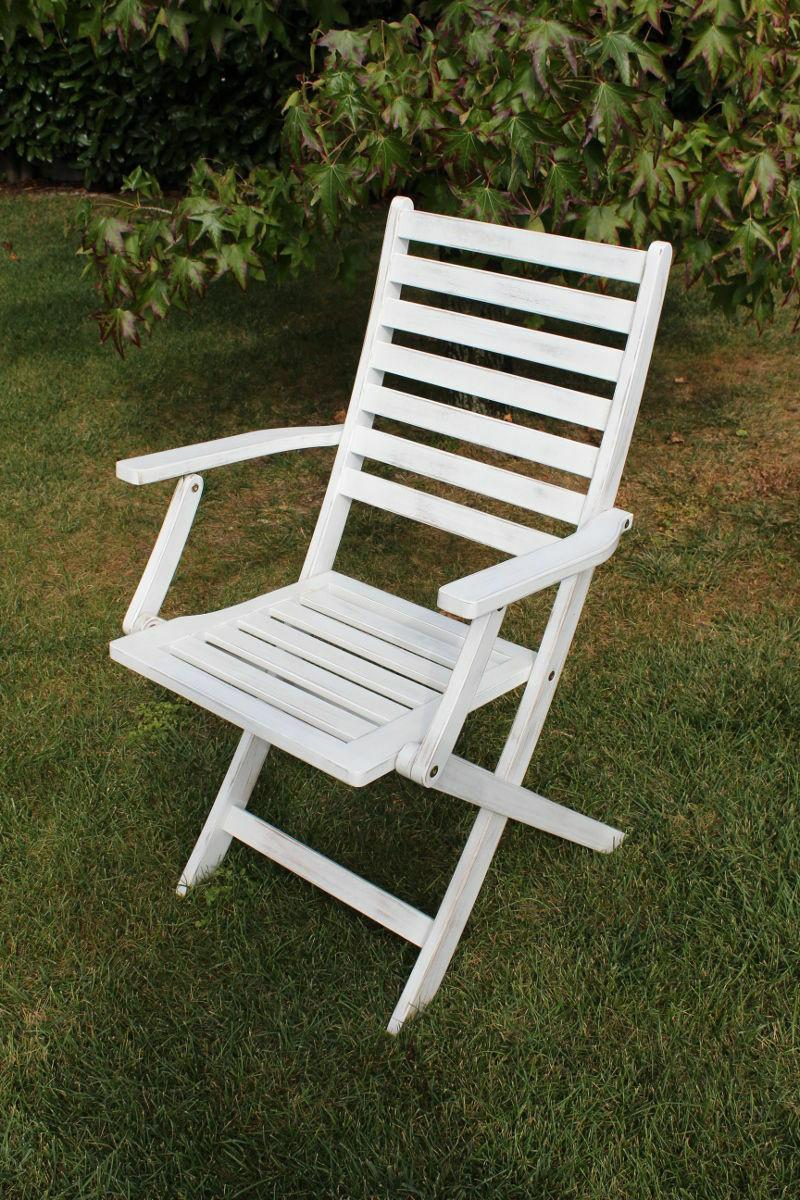 Stuhl Mit Armlehne Weiß  STUHL SESSEL EXTERNE Garten Mit Armlehne Weiß Holz Fest