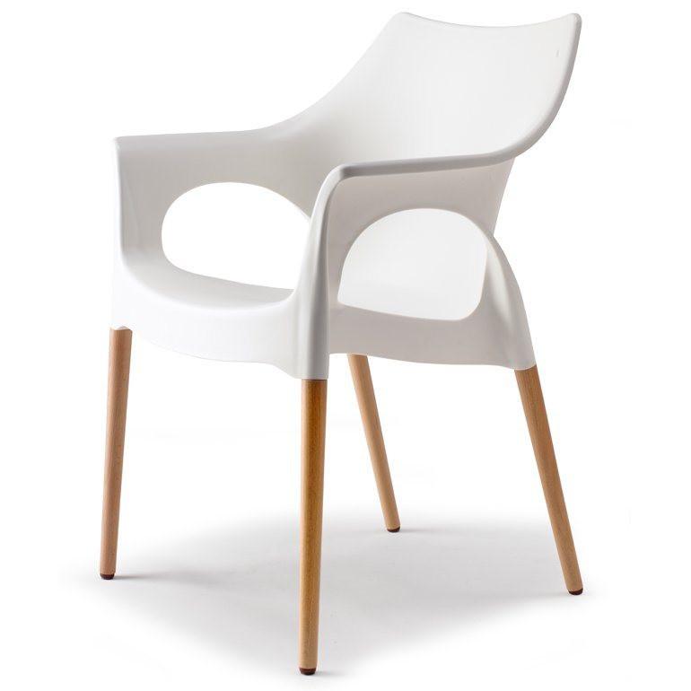 Stuhl Mit Armlehne Weiß  SalesFever Designer Stuhl mit Holzbeinen Linen Natural