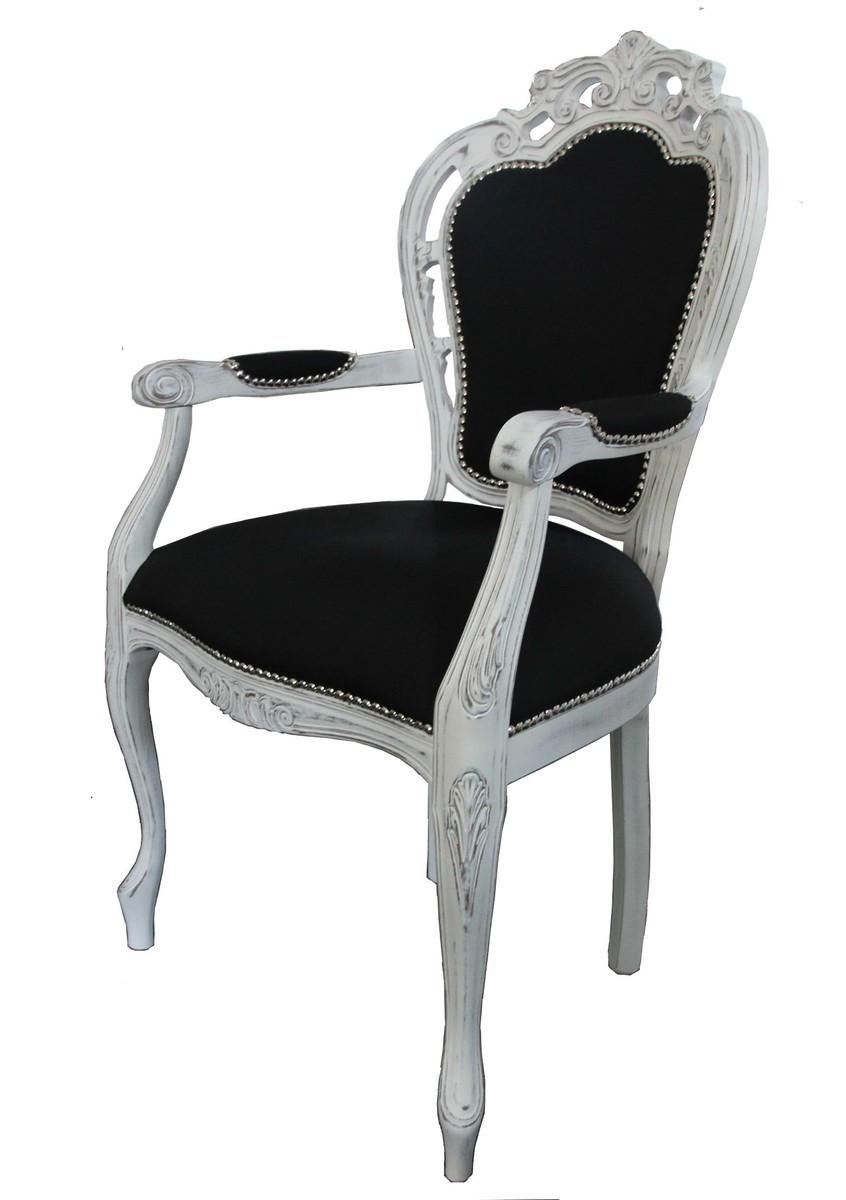 Stuhl Mit Armlehne Weiß  Casa Padrino Barock Esszimmer Stuhl mit Armlehne Schwarz