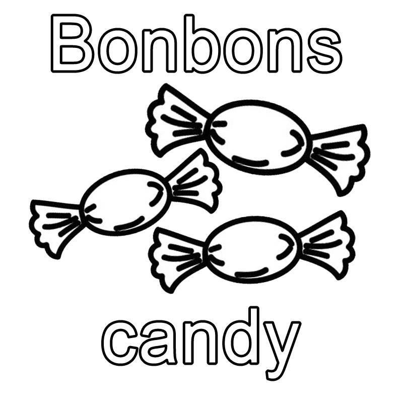 Süßigkeiten Ausmalbilder  Kostenlose Malvorlage Englisch lernen Bonbons candy zum