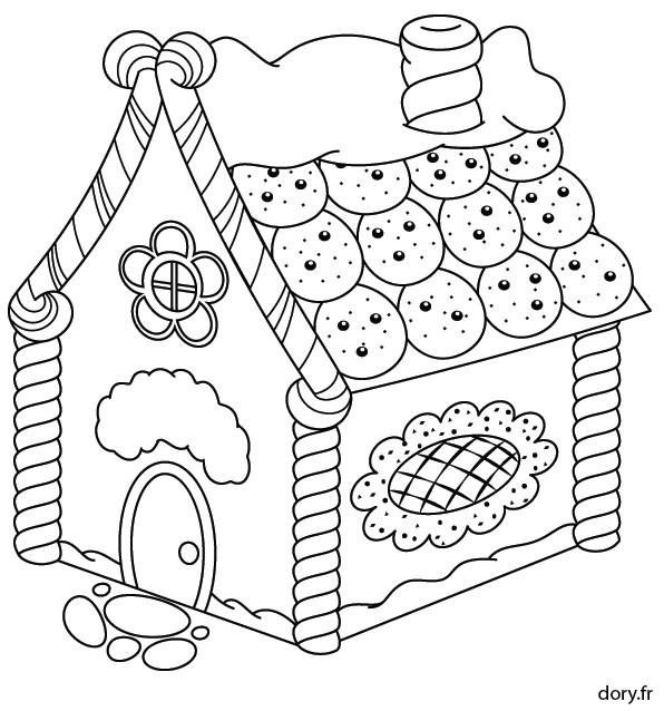 Süßigkeiten Ausmalbilder  Dessin à imprimer une maison en pain d épice