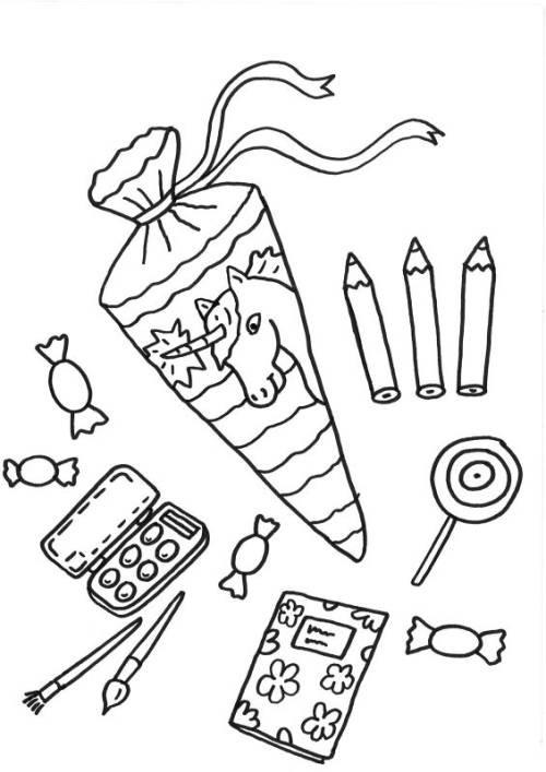 Süßigkeiten Ausmalbilder  Kostenlose Malvorlage Einschulung Schulsachen ausmalen