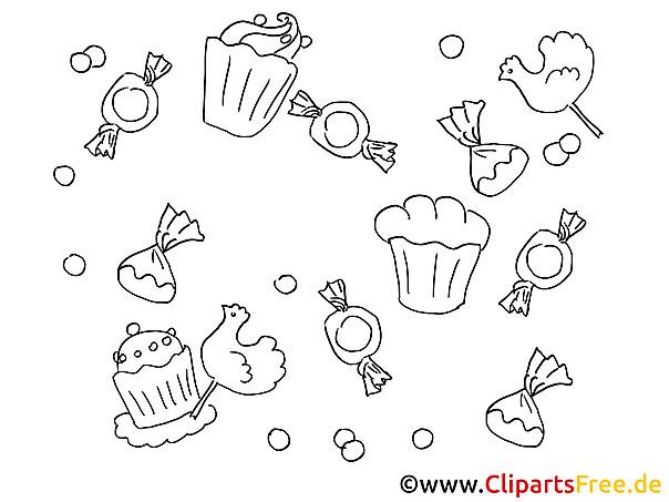 Süßigkeiten Ausmalbilder  Süßigkeiten Bilder zum Ausmalen
