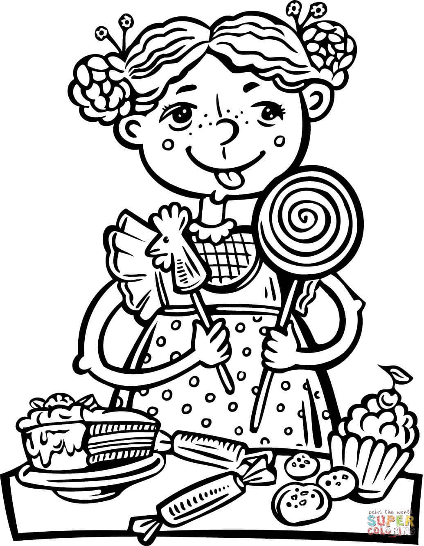 Süßigkeiten Ausmalbilder  Ausmalbild Mädchen das eine Menge Süßigkeiten ißt