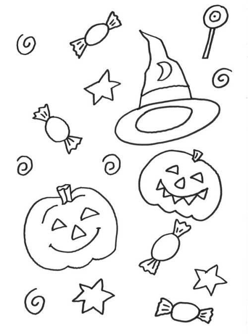Süßigkeiten Ausmalbilder  Kostenlose Malvorlage Halloween Halloween Süssigkeiten