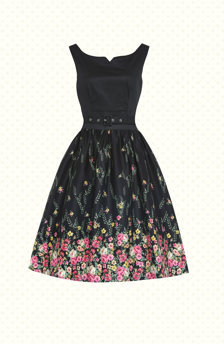 Swing Kleider  Swing Kleid Delta Black Floral Pretty Confetti