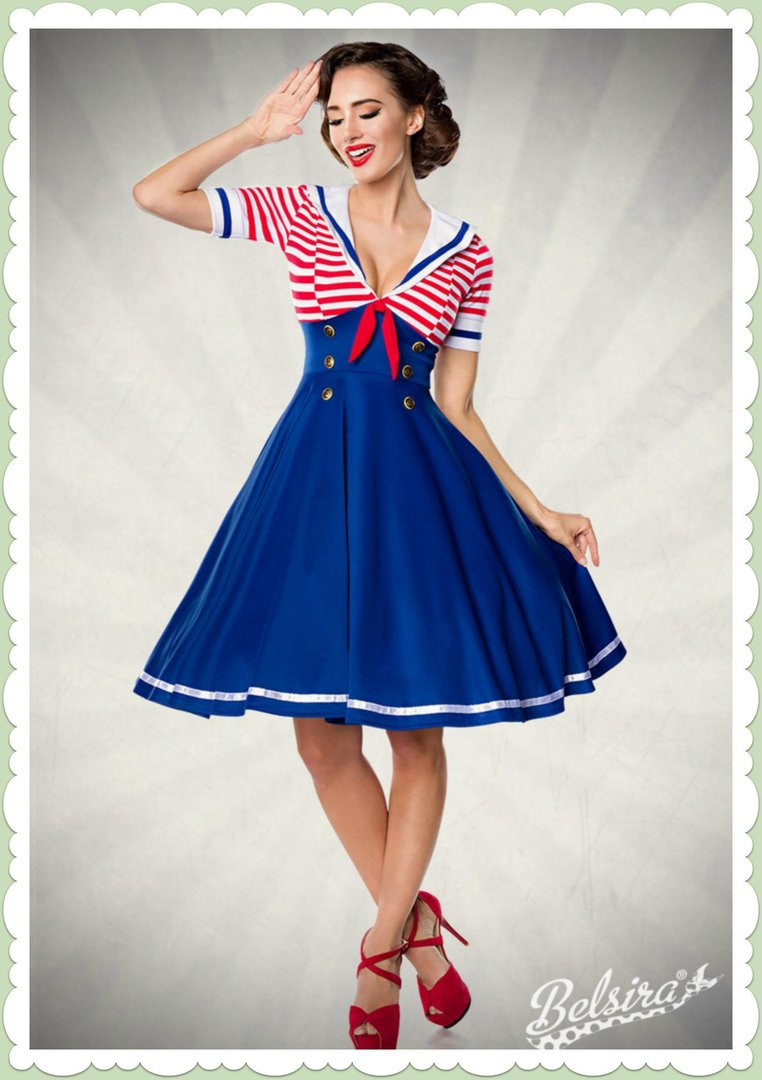 Swing Kleider  Belsira 50er Jahre Retro Swing Kleid Marine Dress Blau