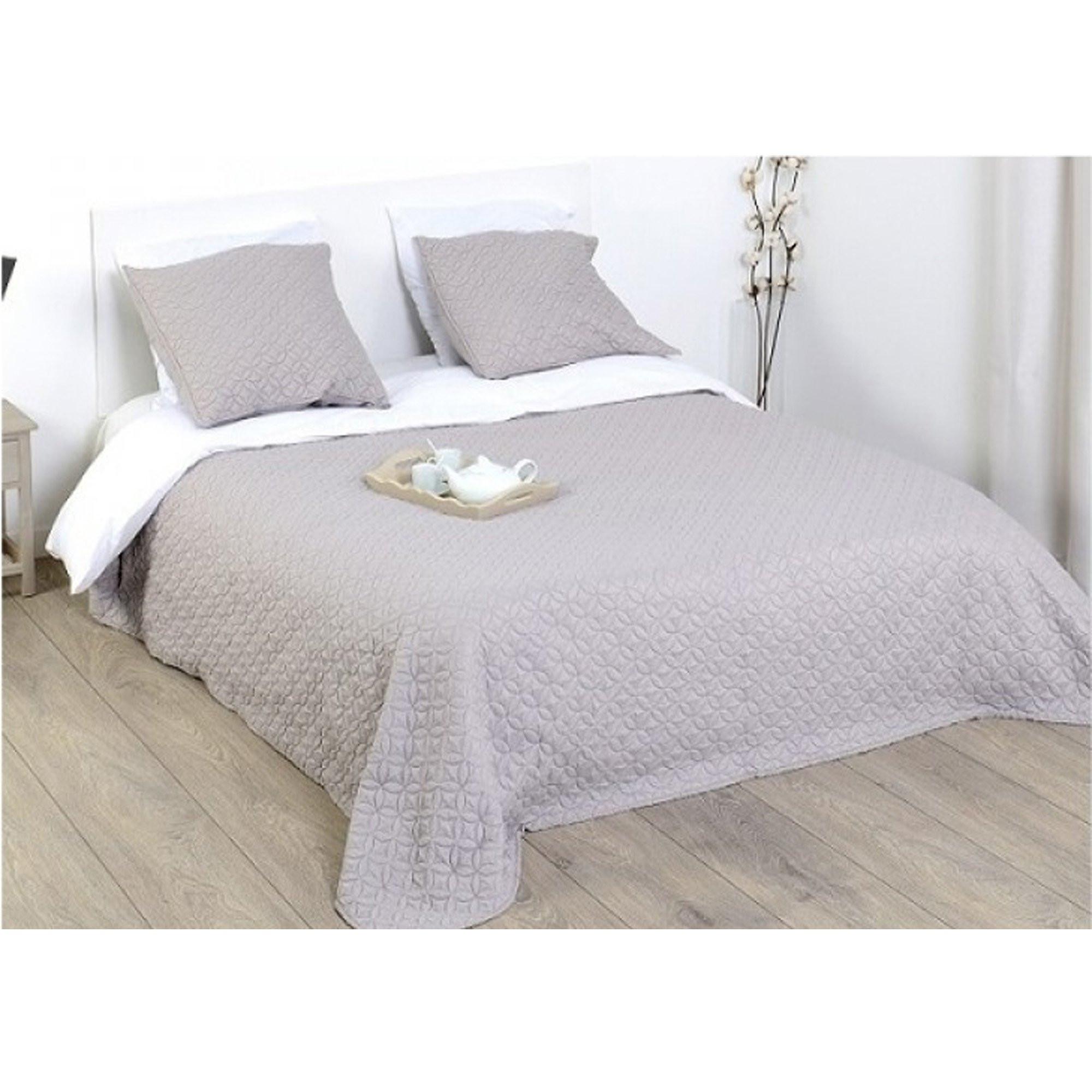 Tagesdecke Bett  Tagesdecke grau Sofa Bett Überwurf plus 2 Kissenhüllen
