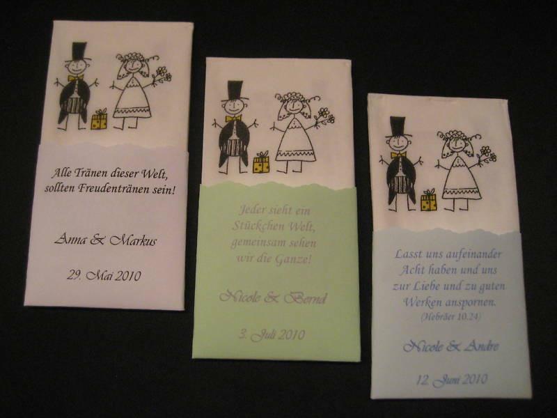Taschentücher Hochzeit  Gastgeschenke 50 Taschentücher Hochzeit Freudentränen