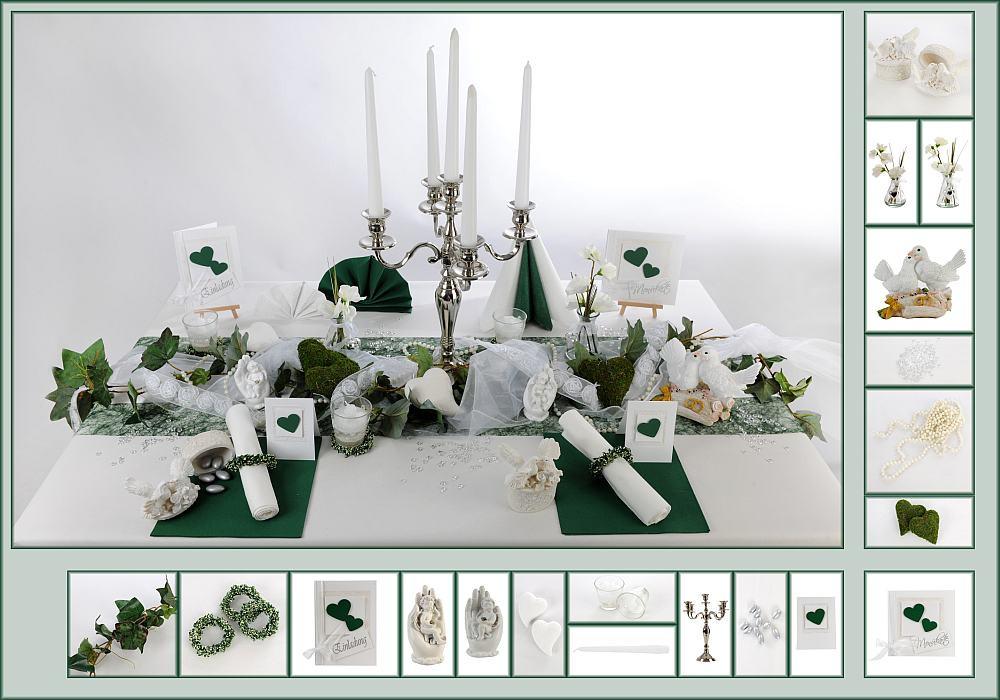 Tischdeko Hochzeit Grün Weiß  7 Mustertisch in Dunkelgün Tischdeko Hochzeit