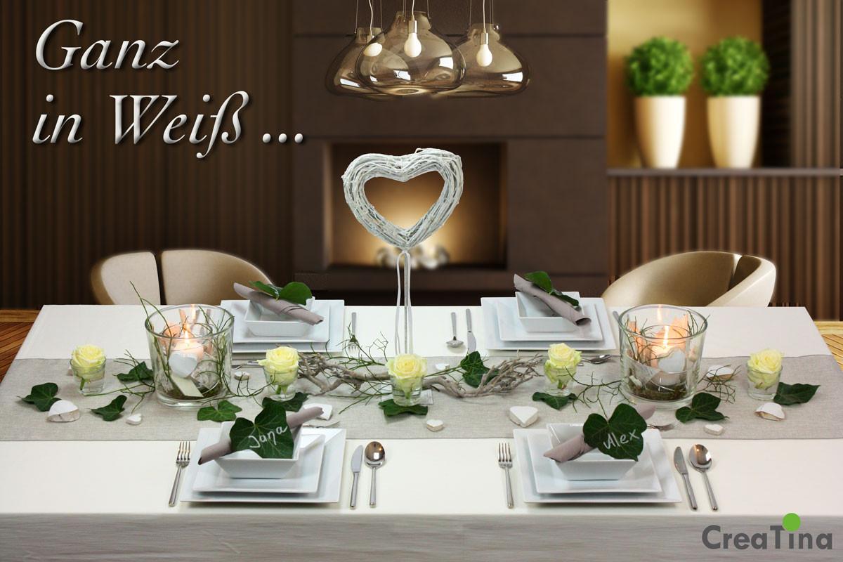 """Tischdeko Hochzeit Grün Weiß  CreaTina Tischdeko Box Hochzeit als Set """"Ganz in Weiß"""