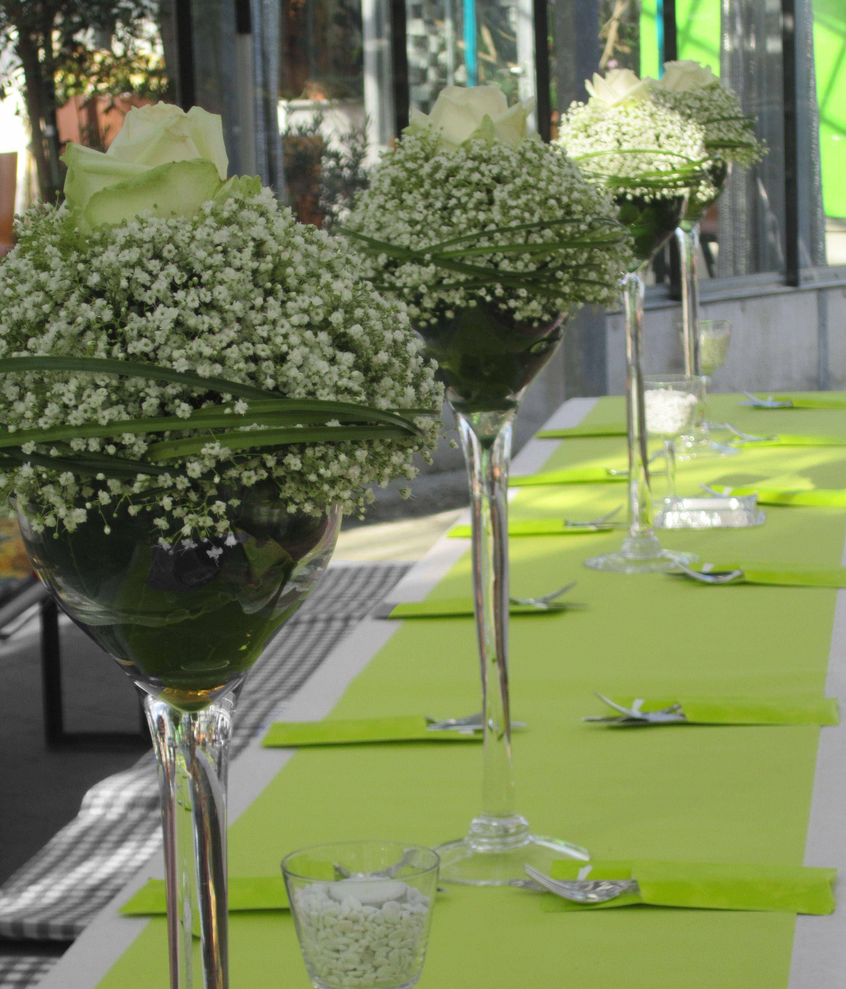 Tischdeko Hochzeit Grün Weiß  Edle Tischdeko in grün weiß