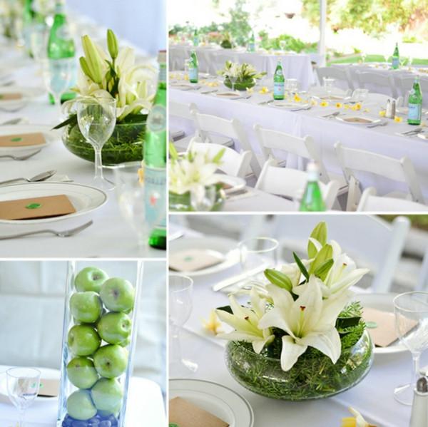 Tischdeko Hochzeit Grün Weiß  Tischdeko Weiss