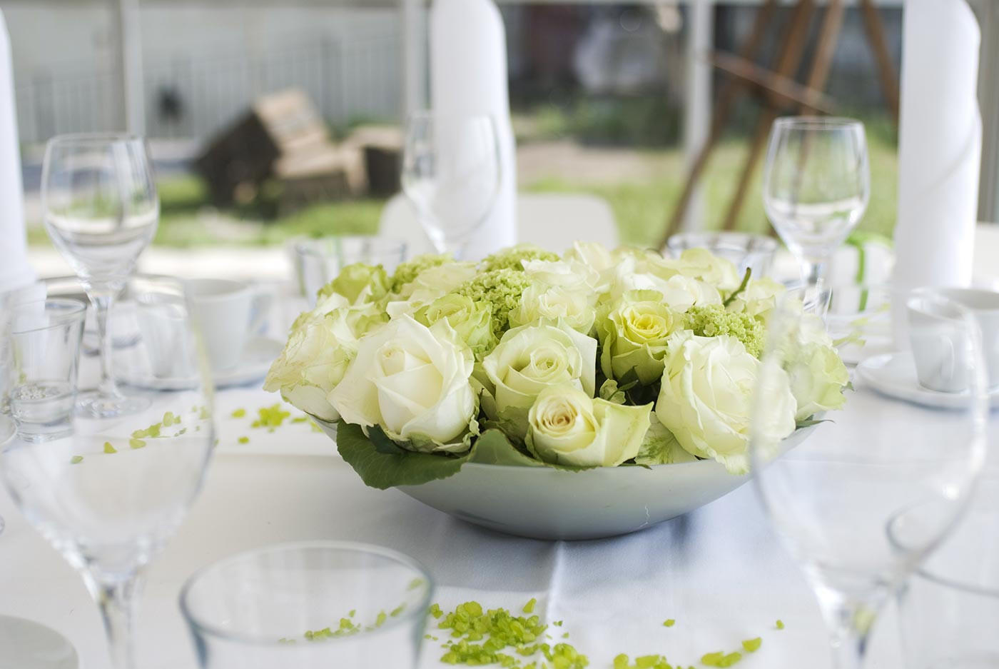 Tischdeko Hochzeit Grün Weiß  Tischdeko in Grün Weiss