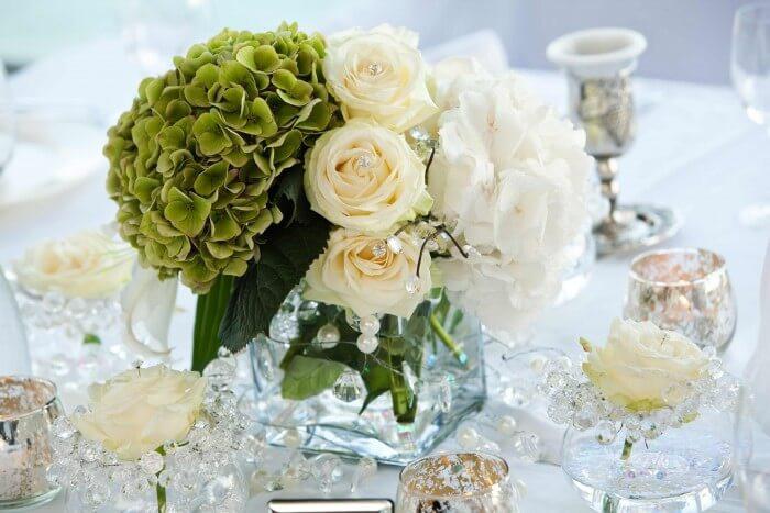 Tischdeko Hochzeit Grün Weiß  Tischdekoration zur Hochzeit