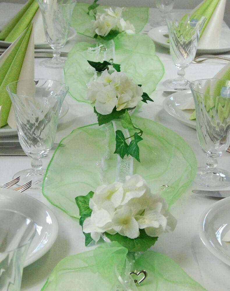 Tischdeko Hochzeit Grün Weiß  Komplette Tischdeko in grün weiß für Hochzeit Geburtstag