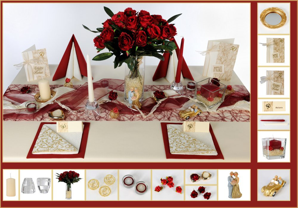 Tischdeko Hochzeit Mustertische  7 Mustertisch Rosenrot Tischdeko Goldene Hochzeit
